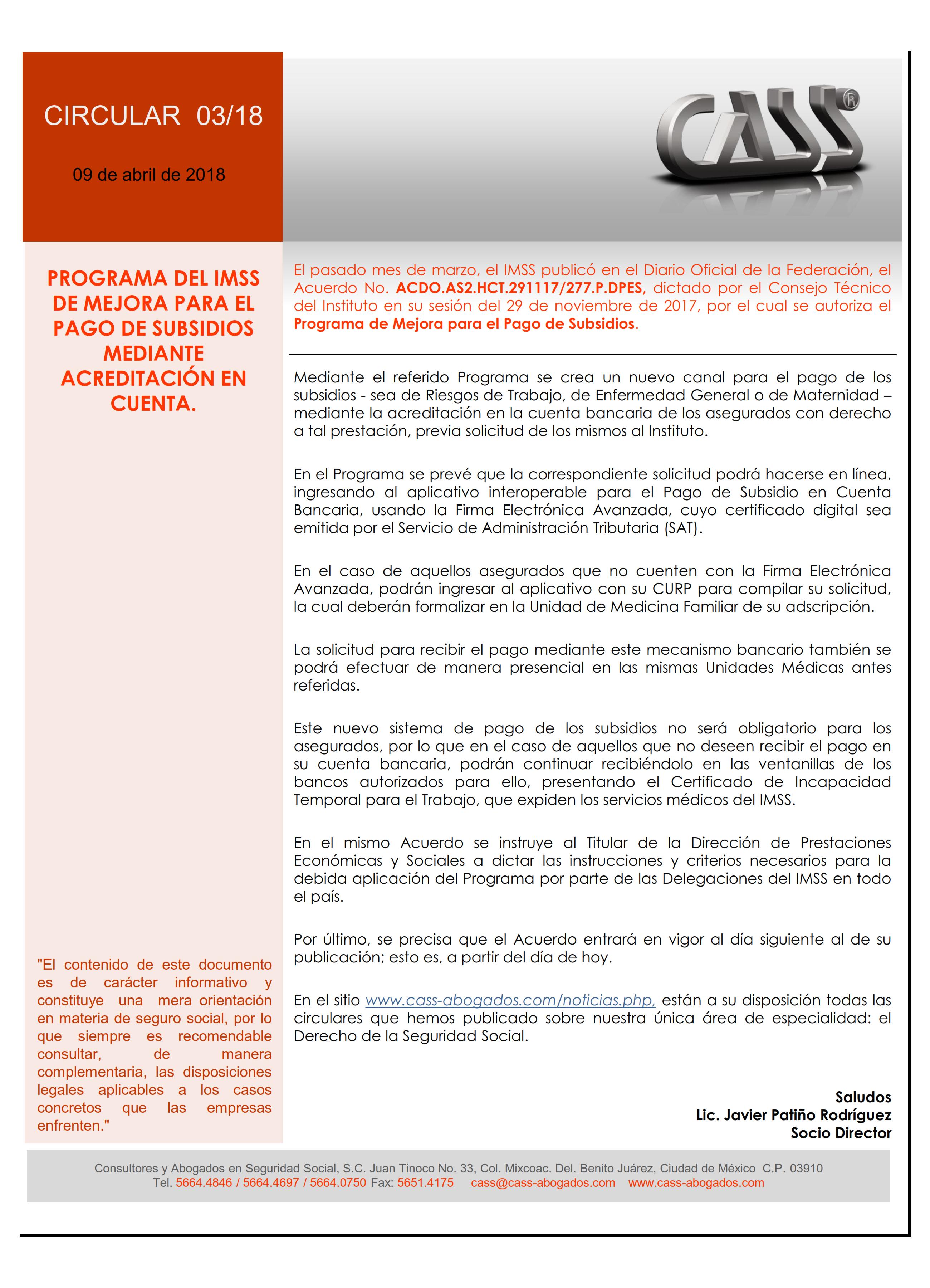 03-18 PROGRAMA DEL IMSS DE MEJORA PARA EL PAGO DE SUBSIDIOS MEDIANTE ACREDITACION EN CUENTA_001
