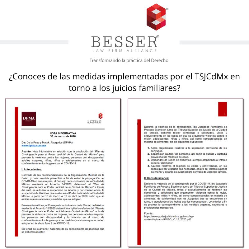 ¿Conoces de las medidas implementadas por el TSJCdMx en torno a los juicios familiares?